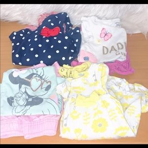 4) disney baby girl outfits size 24m